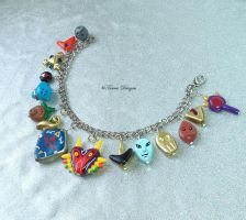 Hand Sculpted Majora's Mask and OoT Charm Bracelet by TorresDesigns