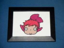 ponyo cross stitch by eevilkat