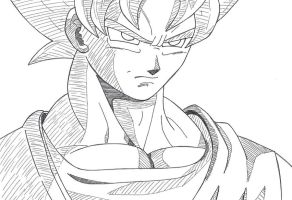 Son Goku SSJ sketch by Przemekw
