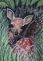 ACEO - Watching Rain by DawnUnicorn