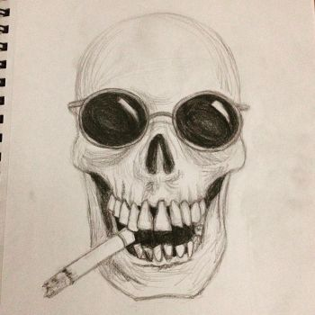 Skull Smoking a Cigarette by Antu
