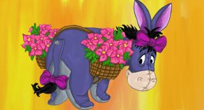 Eyeore and Flowers by hankered-waistline