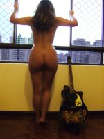 Nude girl and guitar VIII by Grey8Wolf