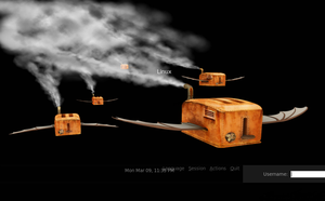Flying toasters login screen by vonSmallhausen