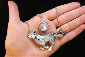 Wolf and Moon Necklace by Gatobob