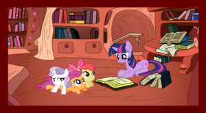 Twilight Reads to the Cutie Mark Crusaders by MrQuallzin