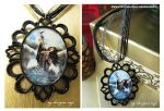 Sea Witch Magical Mermaid Black Pendant Necklace by xgnyc