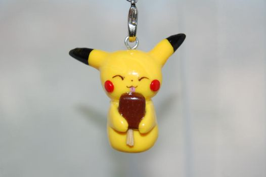 Pikachu Licking a Fudge Bar, Polymer Clay Charm by puddingfishcakes