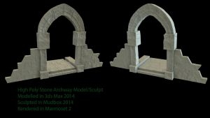 High Poly Stone Archway Piece by Rubber-Rainbows