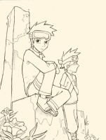 Obito and Kakashi lineart by TenTen9