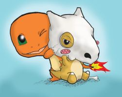 Cubone and Charmander by KaidohKatsuo