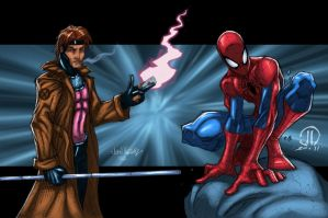 Gambit and Spidey Commish by JoeyVazquez
