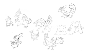 Fakemon Sketches by SteveO126