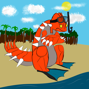 [scketch] Groudon with palms by hylidia
