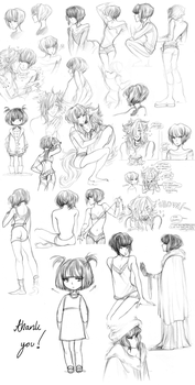 Beatrice pencil draws.. by celiere