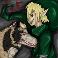 Ben and Smile dog by RousLightTeiger
