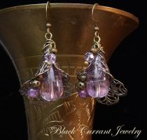 Lavender Amethyst Earrings by blackcurrantjewelry