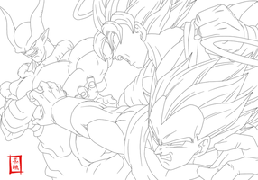 Epic Battle Lineart by SnaKou