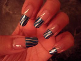 Blue and Silver Tip Nail Art by SkillfulCreations