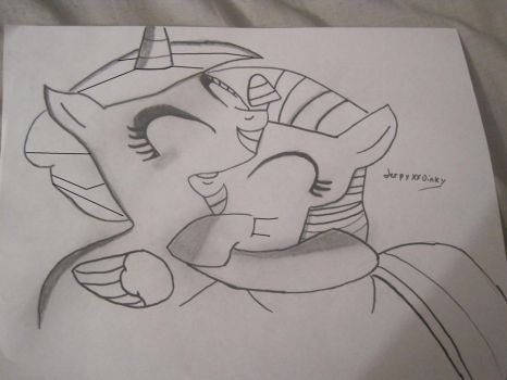sketch of twilight and cadance hug by derpyxxdinky