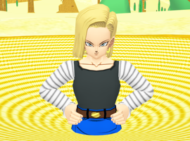 Android 18 sinking in desert quicksand by princevegeta86