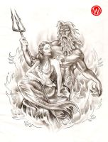 Triton + Mermaid by hauptmann-willie
