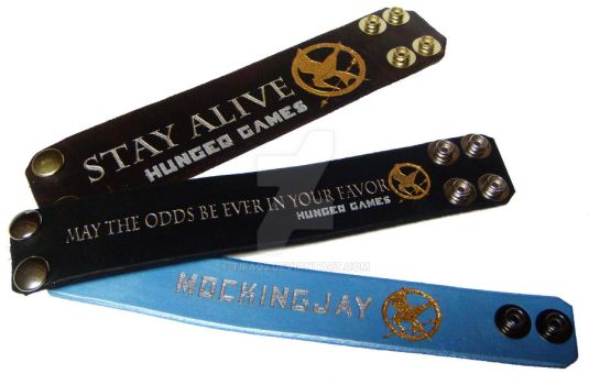 The Hunger Games Trilogy Bracelets Handmade Fanart by tifa03