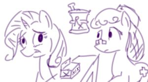 [Stupid Sketch]  Rarity Fighting Crabs by Obsequiosity