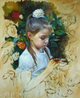 Painting of a little girl with a butterfly fragmen by Drawing-Portraits