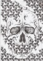 dotwork skull by AsatorArise