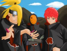 Deidara Tobi and Sasori by skabechera