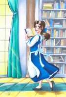 Belle in the Library by Mermaid-Kalo