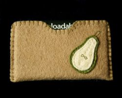 Pear on Taupe Card Holder fr by quirkandbramble
