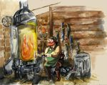 LOZ-ALTTP: The Blacksmith Cooking Ore by timberking