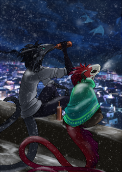 Snow, drink and Best Friend. by Wind-of-Soul