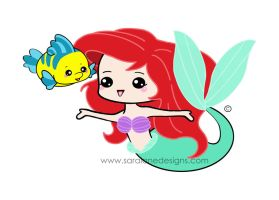 Ariel and Flounder by SaraLaneDesigns