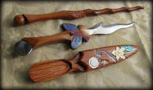 Butterfly Athame and Wand Set by Fableblades