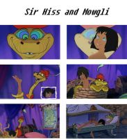 Mowgli and Sir Hiss by pasta79