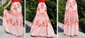Pink multicolor skirt, ruffled, maxi. For everyday by Ameynra-Fashion
