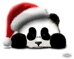 Sad Panda in Christmas hat by Hazey1988