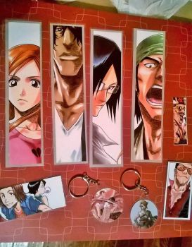 Laminated Bleach bookmarks and other keychains by Miss-Kraken