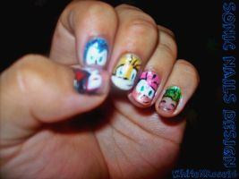 Sonic Nail Design by WhiteXRose96