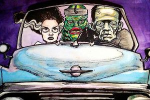 Drawlloween 10 Drive-In Creature Feature by asunder