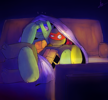 dorks watching horror movie by lilwhitefox2111