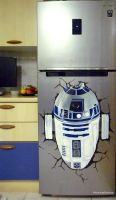 R2D2 breaking out of my fridge :)) by WormholePaintings