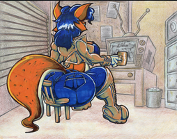 Carmelita Fox Watching TV. by Virus-20
