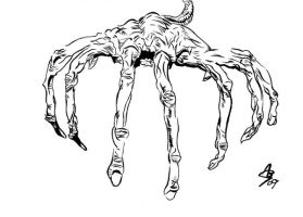 Face hugger drawing_01 by AlexBaxtheDarkSide