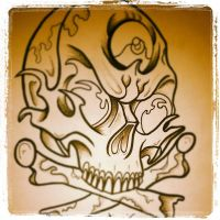 Skull Outline and Shading by paintball0531