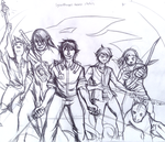 lycanthropes team scetch (uncolored) by Origa6000