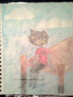 Watercolor practice - Karkat on the pier by InvaderBlitzwing